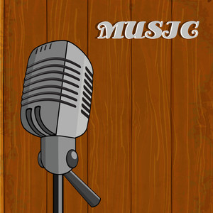 Abstract musical concept with mike on wooden background