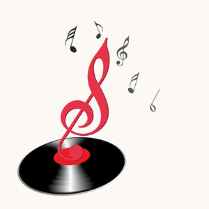 Abstract musical concept with music symbol and disc