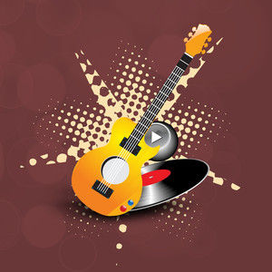 Abstract musical concept with musical instrument and play button