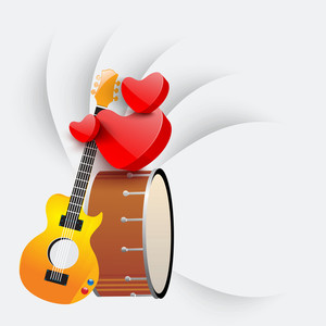 Abstract musical concept with musical instruments and heart shape