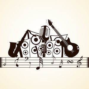 Abstract musical concept with musical instruments on beige background