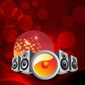 Abstract musical concept with musical loud speakers and disco ball