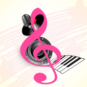 Abstract musical concept with musical symbol and mike