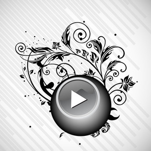 Abstract musical concept with play button on floral background