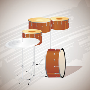 Abstract musical concept with playing drums