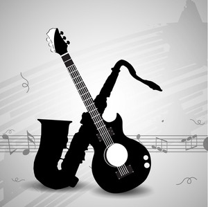 Abstract musical concept with saxophone and guitar