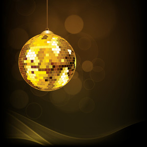 Abstract musical concept with shiny golden ball