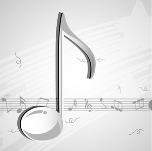 Abstract musical concept with shiny music symbol