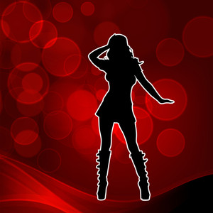 Abstract musical concept with silhouette of dancing disco girl on red backgound