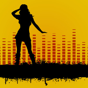 Abstract musical concept with silhoutte of disco girl on high volumn background