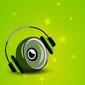 Abstract musical concept with sound and headphone on green background