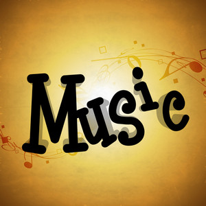 Abstract musical concept with stylish text music