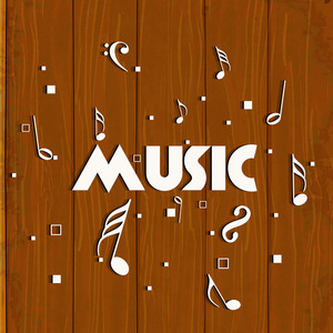 Abstract musical concept with stylish text on wooden background