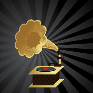 Abstract musical concept with vintage gramophone on rays  background
