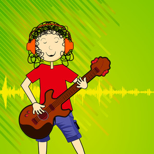 Abstract musical concept with young singer and guitarist on green  background