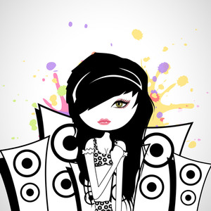 Abstract musical concet with beautiful disco girl and loud speakers background