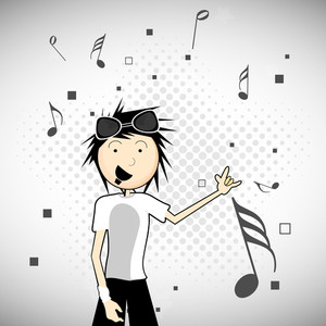 Abstract musical concet with young singer on grey background