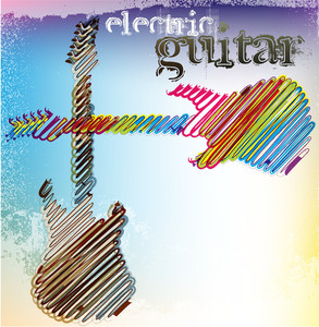Abstract Musical Guitar. Vector Illustration