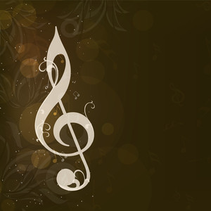 Abstract Musical Note On Grungy Brown Background