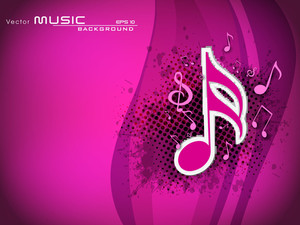 Abstract Musical Note On Pink Background