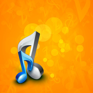 Abstract Musical Note On Shiny Background.