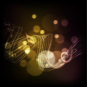 Abstract musical note on waves and shiny background.