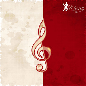 Abstract Musical Note Red And White Grunge Background