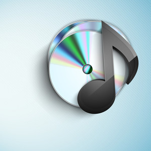 Abstract Musical Note With Cd