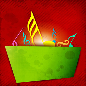 Abstract Musical Notes Banner On Red Background