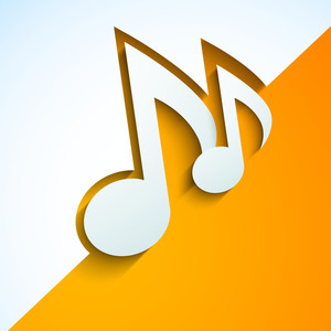 Abstract Musical Notes On Yellow And White Background