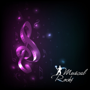 Abstract Musical Notes With Shiny Background. Vector.