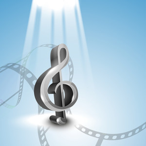 Abstract Musical Party Blue Background With Music Note And Film Reel