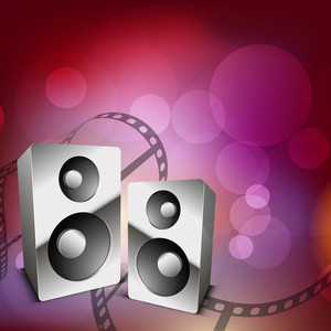 Abstract Musical party concept on shiny pink background