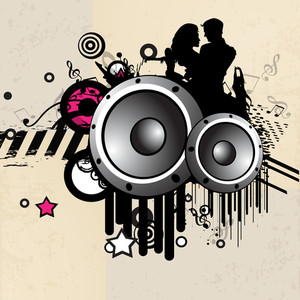Abstract musical party concept with speakers