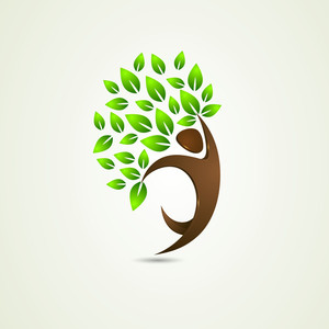 Abstract Nature Background With Eco People And Green Leaves