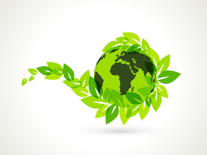 Abstract Nature Background With Globe And Fresh Leaves