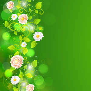 Abstract Nature Background With Green Leaves And Flowers