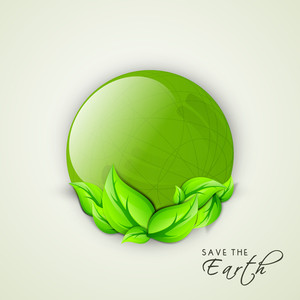 Abstract Nature Background  With Green Leaves And Text Save The Earth