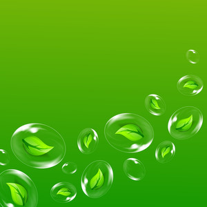 Abstract Nature Background With Green Leaves Inside The Water Bubbles