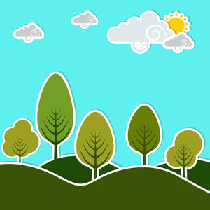 Abstract Nature Background With Green Trees And Clouds