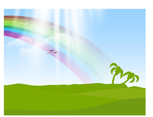 Abstract Nature Background With Rainbow