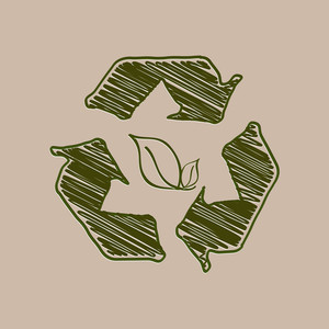 Abstract Nature Background With Recycling Arrows And Green Leaf