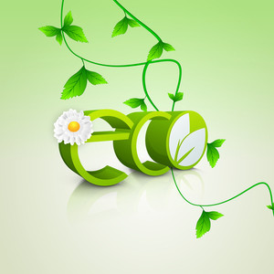 Abstract Nature Background With Stylish Text Eco Decorated With Green Leaves