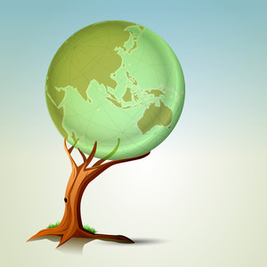Abstract Nature Background With Tree Holding The Globe