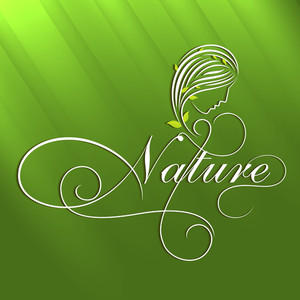 Abstract Nature Concept With Beautiful Young Girl And Stylish Text On Shiny Green Background.