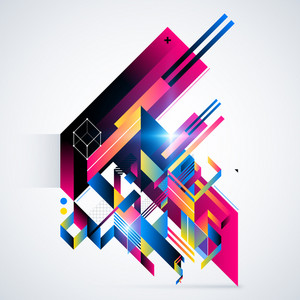 Abstract Geometric Element With Colorful Gradients And Glowing Lights. Corporate Futuristic Design