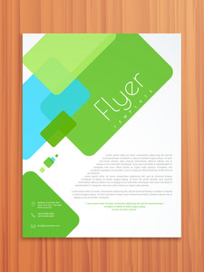 Abstract professional flyer brochure or template design on wooden background.