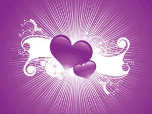 Abstract Purple Two Couple Hearts With White Floral Elements