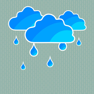 Abstract Rainy Season Background With Blue Clouds And Water Drops