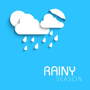 Abstract Rainy Season Background With Cloud And Water Drops